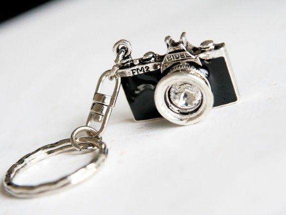 Black Camera Keychain / keyring by blingDIY on Etsy, $9.90