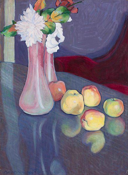 File:Tibor Boromisza - Apples And Roses 63,5X47,5 oil on carton 1907.jpg