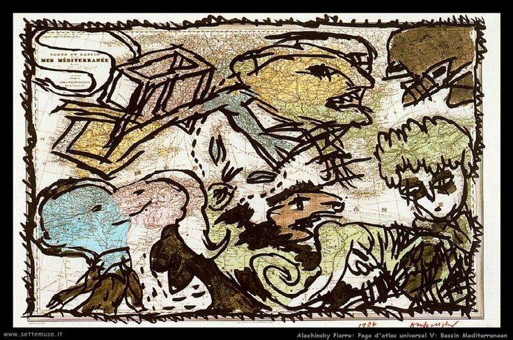 alechinsky_pierre_032_page_d_atlas_universel_V_bassin_mediterraneen