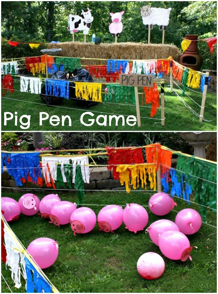 Pig Pen full of pink balloons!  Fun for a barnyard party or just good ol' backyard fun.