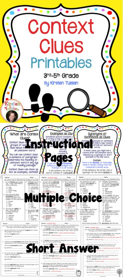 Context Clues - Context Clues Printables offer print and go, common core aligned, context clues activities for 3rd-5th grade. This context clues product includes four instructional pages, 4 pages of multiple choice questions, 4 pages of fill in the blank pages, and 2 pages of stories followed by printables that ask students to define underlined words (and also look them up in the dictionary to check for accuracy). ALL sheets do have a corresponding Answer Key as well.
