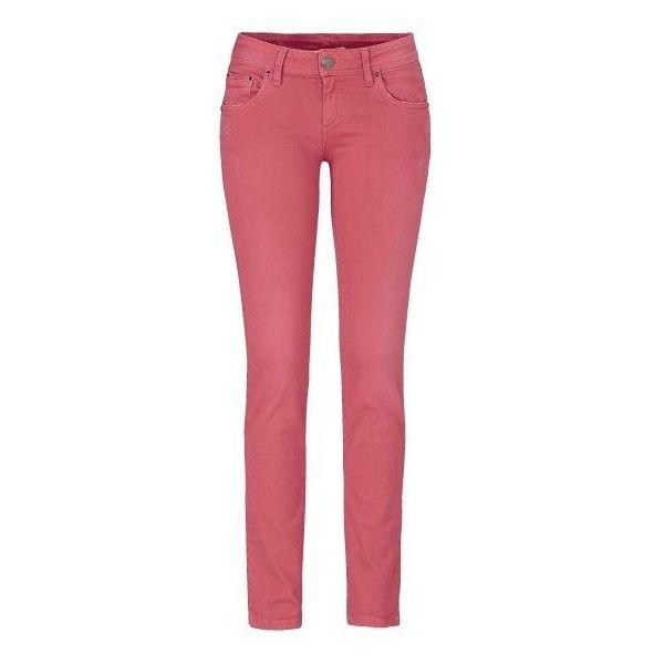 Röhrenjeans, Used-Effekte, Straight Leg, Denim-Optik ($115) ❤ liked on Polyvore featuring jeans, straight leg jeans, denim straight leg jeans, red jeans, red straight leg jeans en red denim jeans