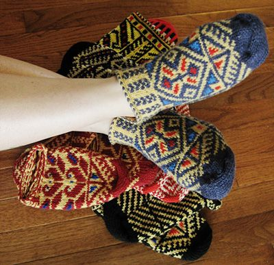 Bosnian slippers. Bosnian knitting is closely related to Turkish tribal knitting in themes and construction.