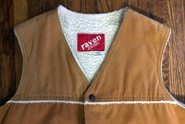 Vintage Men's Suede Leather and Shearling Vest with COOP buttons by Raven Industries of South Dakota
