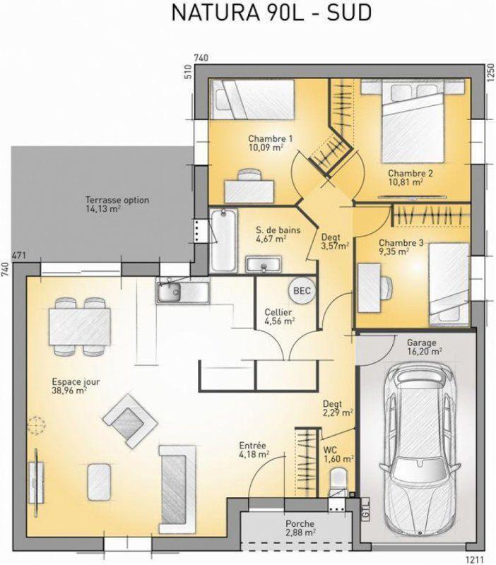 Plan maison neuve à construire - Maisons France Confort Natura 110 G - maisons plain pied plans gratuits