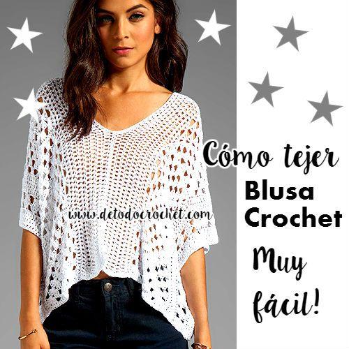 Blusa fácil para tejer a crochet