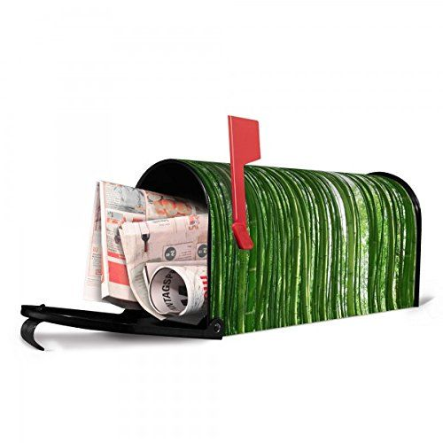 banjado - US Mailbox 17x22x51cm schwarz amerikanischer Briefkasten mit Motiv Bambus, Briefkasten mit schwarzem Standfuß