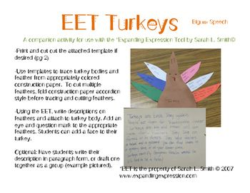 This is a Turkey themed craftivity idea meant as a companion to the Expanding Expression Tool by Sarah L. Smith.  You can find more info on the EET at expandingexpression.comThere is a fair amount of prep involved in this activity.  See picture of completed project in thumbnail.