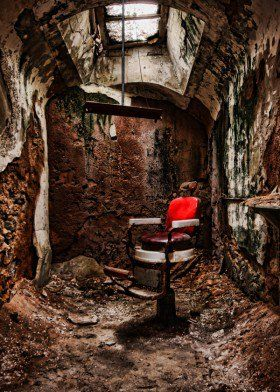 Displate.com  abandoned prison chair red window old crumble decay urban historic usa america american jail