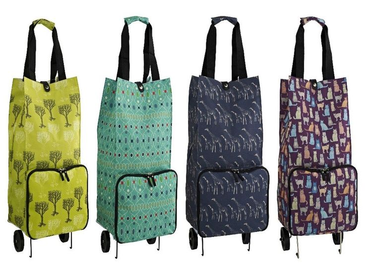 Folding Shopping Trolley Polyester Wheeled Pouch Bag Luggage Storage Grocery
