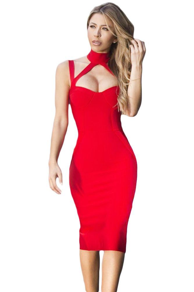 Chicloth Red High Neck Hollow-out Bandage Dress