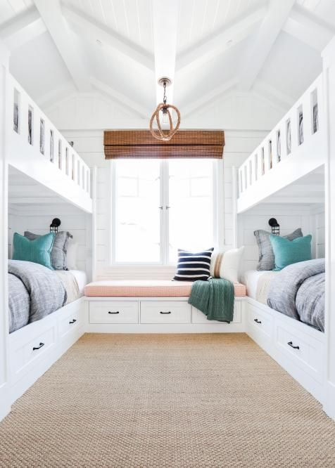 Beach Inspired Kidsu0027 Room Boasts Built In Bunk Beds | HGTV