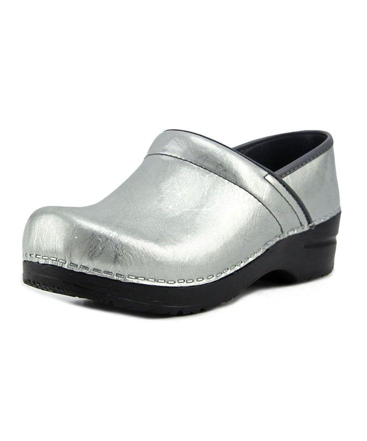 SANITA Sanita Signature Pearl Metallic Women  Round Toe Patent Leather Gray Clogs. #sanita #shoes #