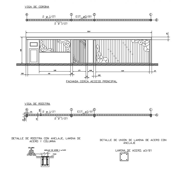 Railing structure design detail 2d view layout elevation ...