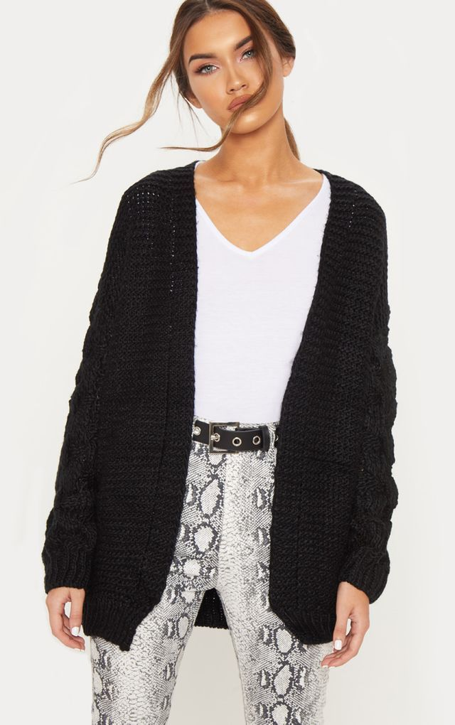04684f86a0ed7 Black Contrast Knit Cardigan | comfy goth | Knit cardigan, Fashion ...