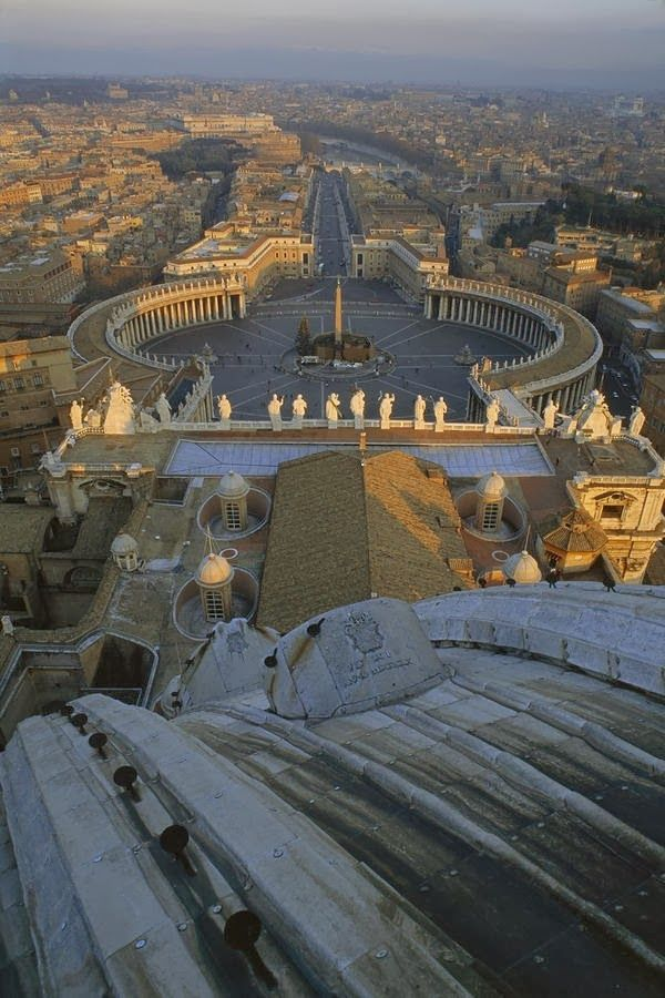 Piazza San Pietro as seen from the dome of Saint Peter's Basilica -Rome, Italy, province of Rome, Lazio