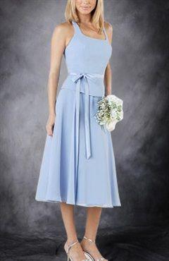 Sashes/ Ribbons Chiffon Knee-length Blues Bridesmaid Dresses