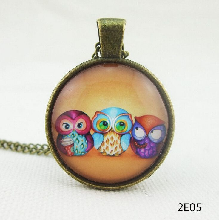 Aliexpress.com : Buy Fashion lovely vintage colorful cute OWL necklace & pendants glass cabochon necklace bronze chain cheap sale from Reliable chain diamond necklace suppliers on Dorado --- HONGYE JEWELRY | Alibaba Group