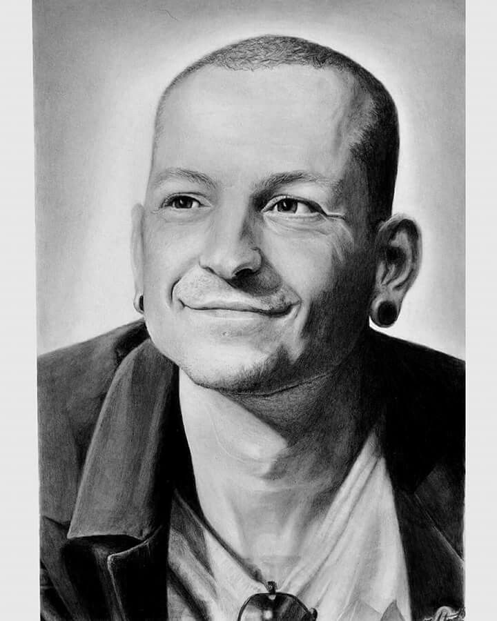 A tribute portrait drawn in memory of Chester Bennington, the lead singer of Linkin Park, made with huge love and respect. He was my inspiration in many ways since I was a child.  Pencils used: 3H, H, HB, B4, B6 Paper used: Bristol 250g/m2, special textured silk paper with high quality A3 - 16,5 x 11,7 inches