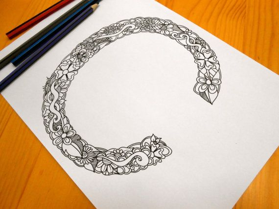 Letter C Colouring page Decoration by GardenDoodles on Etsy