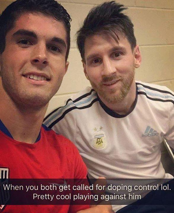 Christian Pulisic (USA) el jugador más joven de la Copa América (17 años) fue llamado al control anti-doping después del partido vs Argentina. Sorpresa.