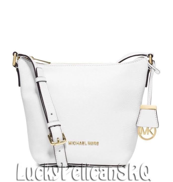 MICHAEL KORS Bedford Small Leather Messenger Crossbody Optic White NWT #MichaelKors #MessengerCrossBody