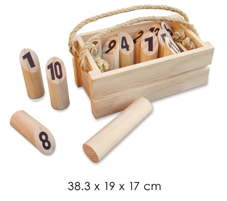 Wooden Log Toss Game is a game for two or more players. The aim is to be the first to score fifty points. You stand 3 to 4 metres from the numbered pegs and toss the log to try and knock over the number you require. If a player knocks over more than one peg you only score the number of pegs you knocked over. If you knock over 1 peg you score the number on that peg. This is a simple, entertaining game which is wonderful for early maths and is presented in a crate with a rope carry string.