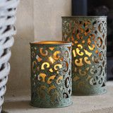 mint green candle holders lanterns