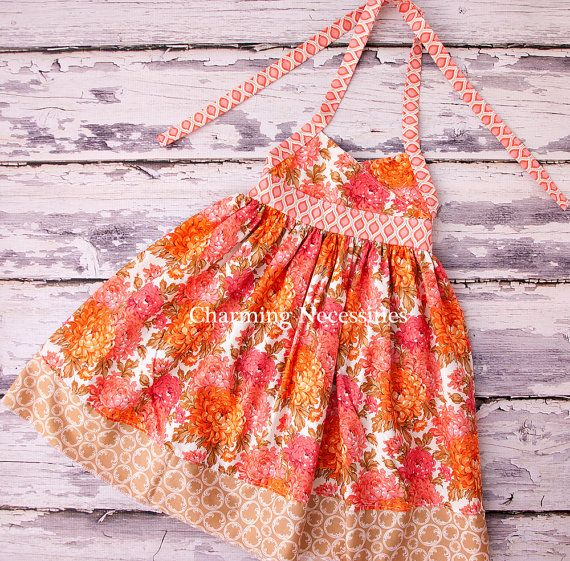 Girls Halter Sun Dress for Girls in Orange Coral and Pink Flowers by Charming Necessities Party Birthday Toddler Girl Clothes