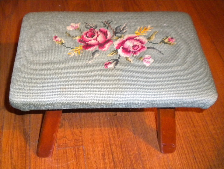 Vintage maple foot stool by Cushman made in Vermont. Needlepoint cover | eBay. pretty awesome, but I don't need a foot stool.