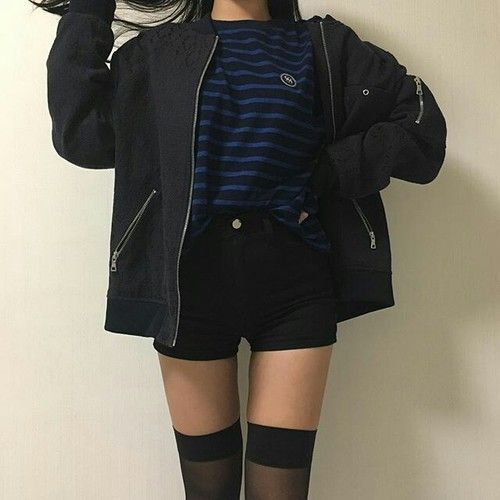 Thigh High Black Sheer Tights, Black Shorts, Blue and Black Striped Tee, Big Sweatshirt
