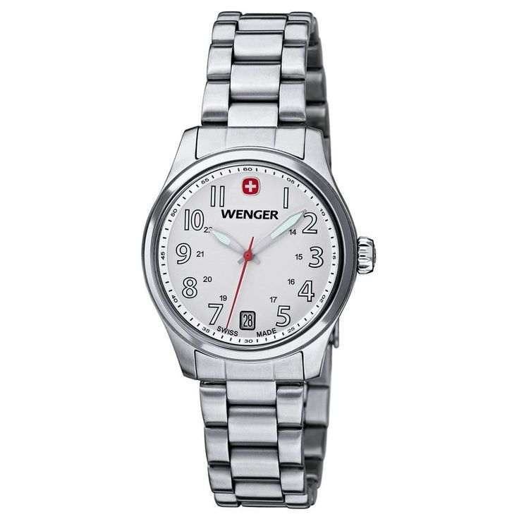 Wenger 01.0521.102 Women's Terragraph White Dial Stainless Steel Bracelet Watch