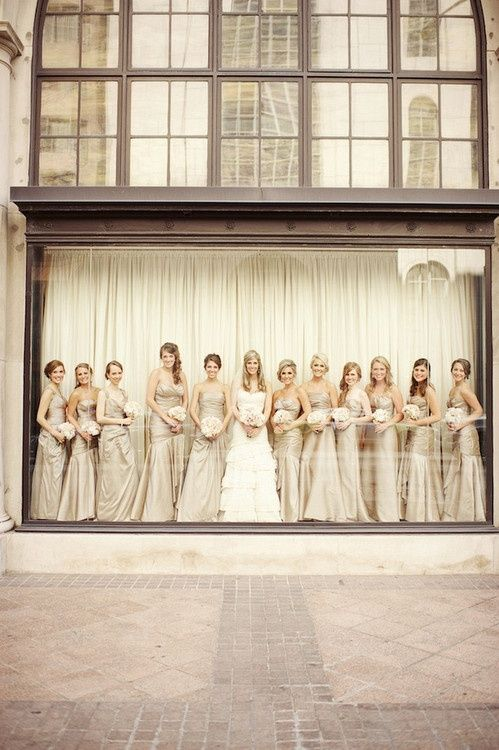 bridesmaids photo idea - love the storefront window!