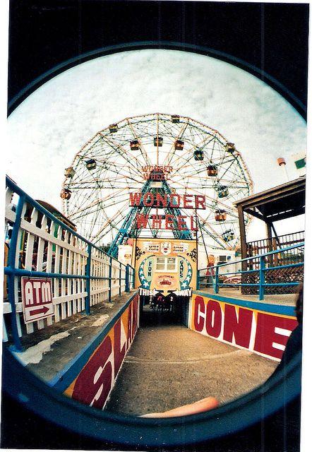 Fisheye of the Wonder Wheel at Coney Island, Brooklyn, NY.