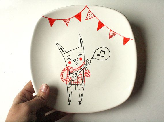Hand painted plate decoration   Rabbit singer by krabismos on Etsy, €18.00