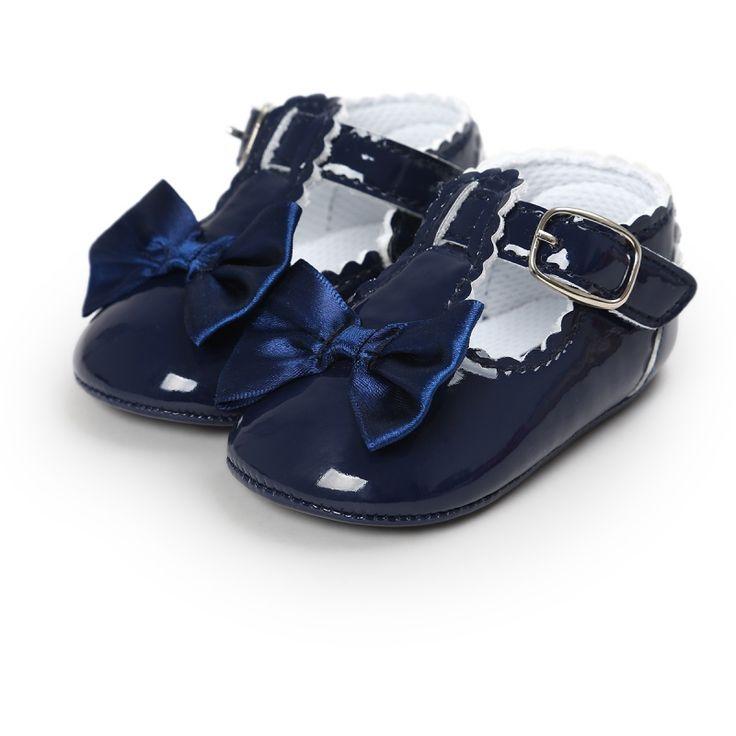 Los Bebés recién nacidos Zapatos del Bowtie de LA PU de cuero Hebilla de Primeros Caminante Rojo Negro Rosa Blanco Azul