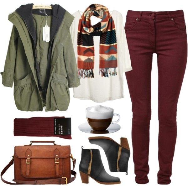 Love the parka and deep red colored pants.