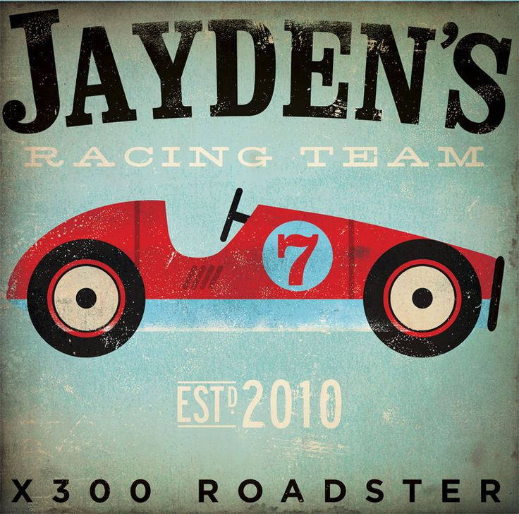 Children's Art racing team race car original by geministudio. $80.00, via Etsy.