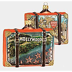 Los Angeles Christmas Ornament Hollywood California Travel Suitcase Glass Christmas Ornament ONE Decoration CA