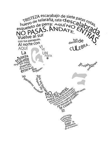 Caligrama de Pablo Neruda realizado con su poema Oda a la tristeza