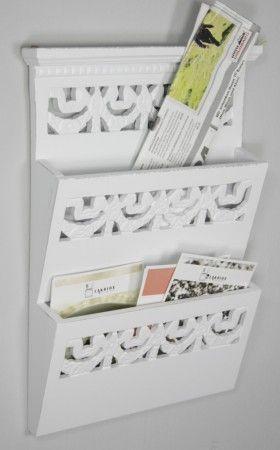 Newsholder weiß Briefhalter Holz – Bild 1