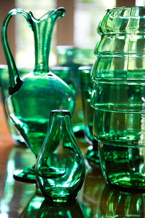 green glass/vases-- love the color. #mywatergallery