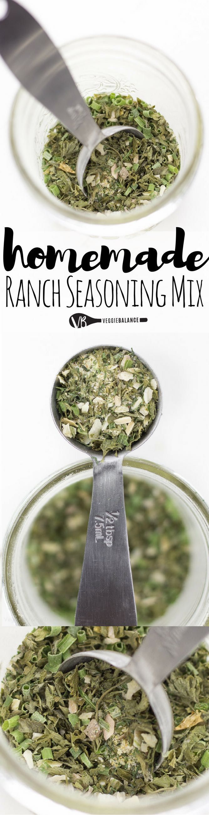 Homemade Ranch Seasoning Mix so good you'll ditch those pre-made packets with a quickness. All you need is 8 simple spices that I bet you already have in your cupboard. (Gluten Free, Dairy Free, Vegan)