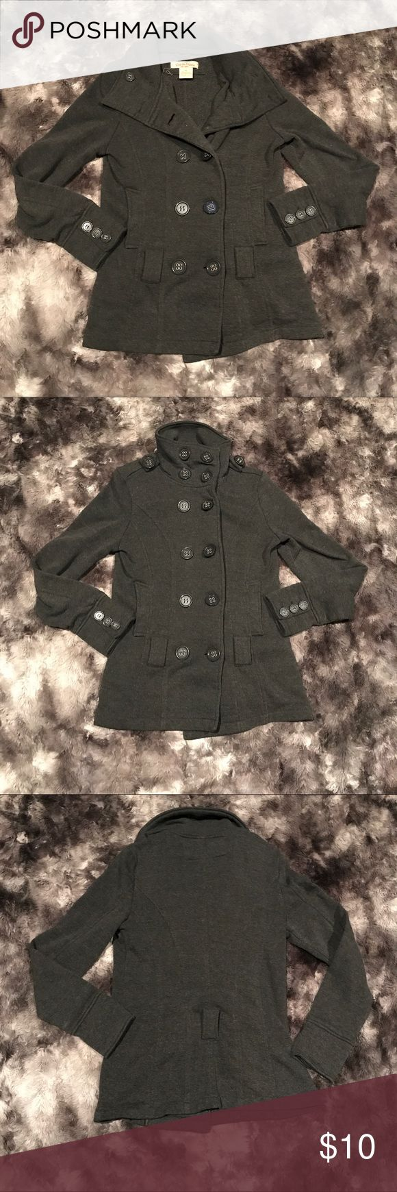 "Sz medium Paris Blues dark gray pea coat jacket Women's size medium dark gray/charcoal peacoat style jacket by Paris Blues. It can button up to the neck to look more military style. In excellent condition, just missing the tie for the waist but looks great without that! Perfect for fall and winter! Length-26"" armpit to armpit-18"" Paris Blues Jackets & Coats Pea Coats"