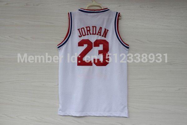Бесплатная доставка чикаго 23 майкл джордан белый джерси, дешевые майкл джордан баскетбол джерси, 1992 все звезды джерси