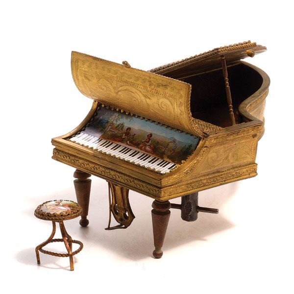 Austrian Viennese Enameled Piano Music Box with Bench #michaans http://www.michaans.com/highlights/2014/highlights_12072014.php