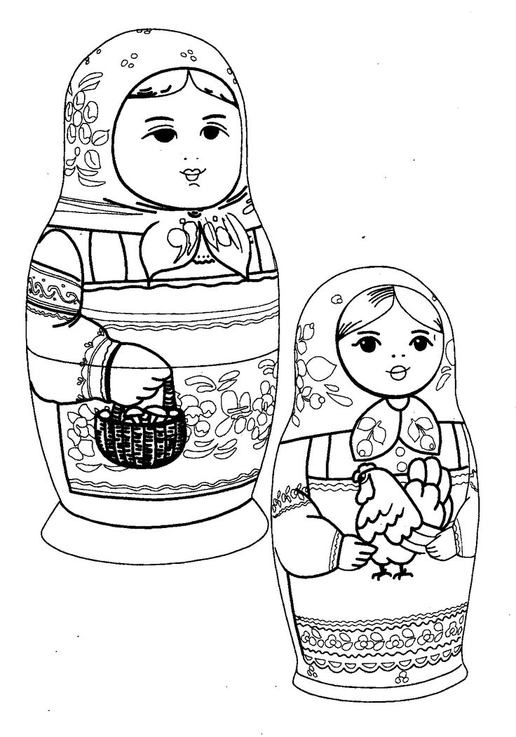 babushka coloring pages | 137 best Kleurplaten Matruschka - Matreshka - Matryoshka ...