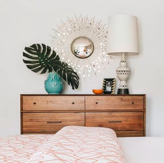 Home – home decor – love this mid century modern dresser with monstera leaves and gold mirror fashion decor