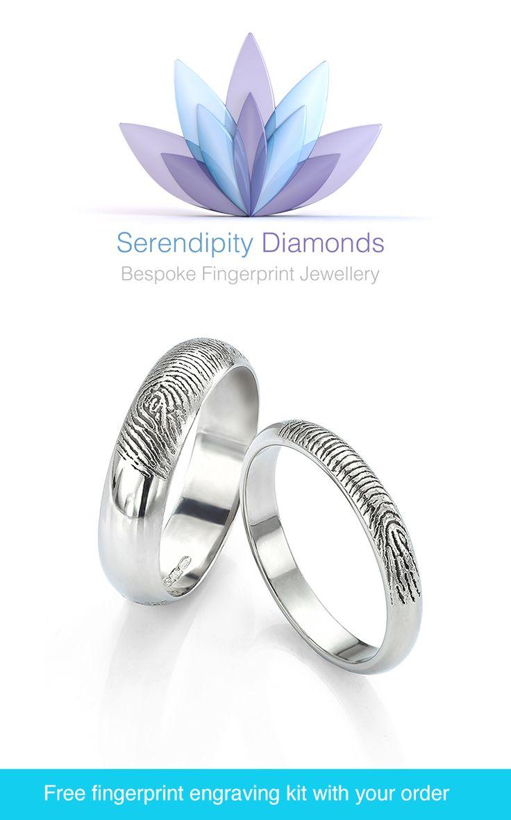 Trending Fingerprint wedding rings Your actual fingerprint engraved onto the inside or outside of your bands