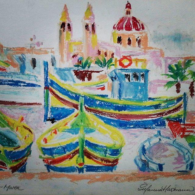 #sketchbookdrawing #quicksketch #oilpastels #sketching #drawing #Malta #boats #fisherboats #maltesechurch #holiday #holidaysketching #harbour #ferieskitser #fiskerbåde #skitsebog #copyrightbySusannaHartmann